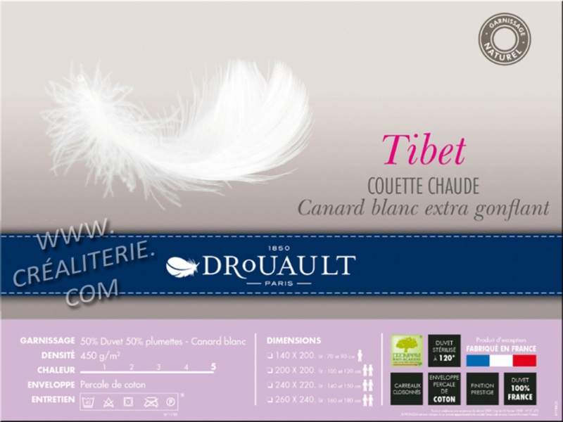 couette drouault tibet 450 g m en duvet de canard blanc extra gonflant anti acariens proneem. Black Bedroom Furniture Sets. Home Design Ideas