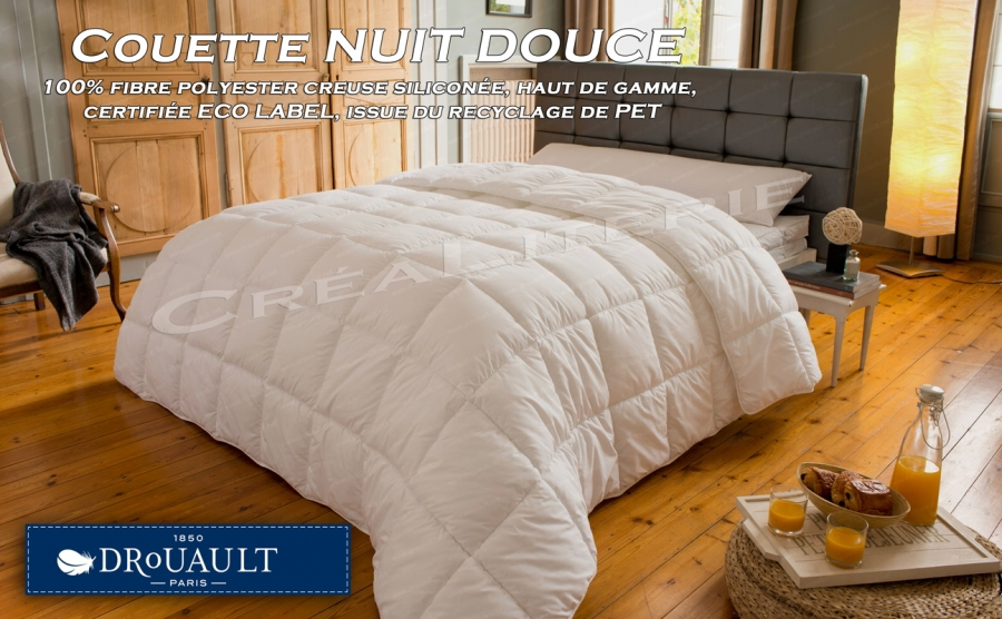 couette drouault nuit douce 300 g m fibre creuse silicon e haut de gamme certifi e eco label. Black Bedroom Furniture Sets. Home Design Ideas