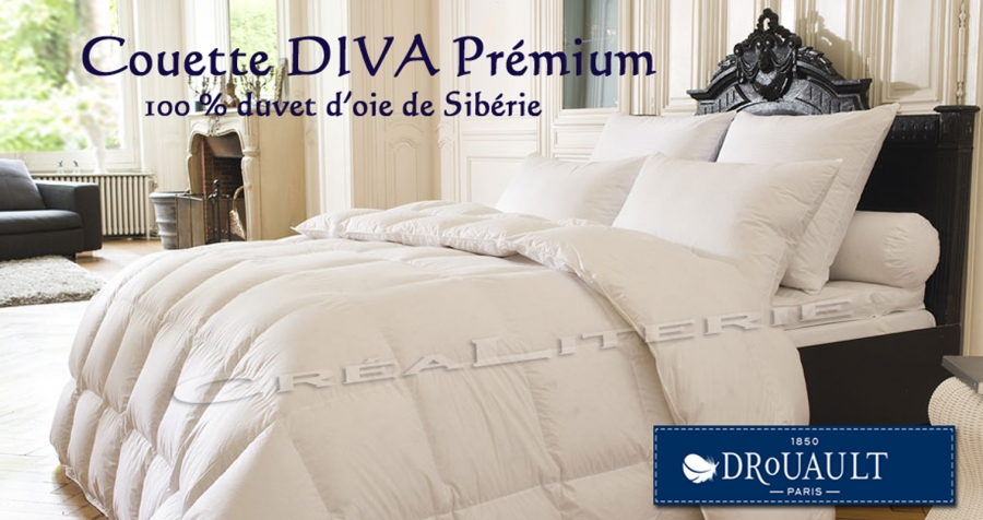 couette drouault diva pr mium 260 g m en duvet d 39 oie blanc des neiges de sib rie fabrication. Black Bedroom Furniture Sets. Home Design Ideas
