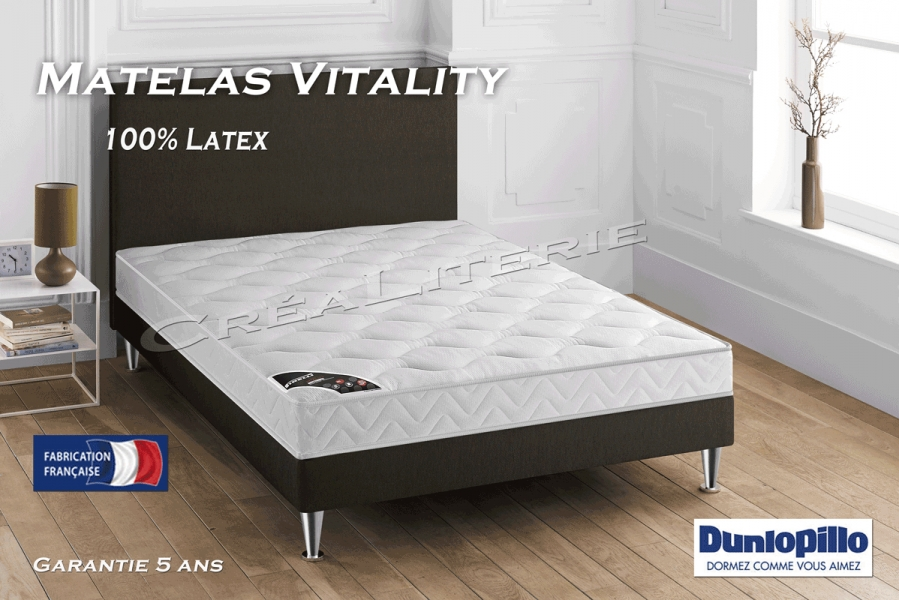 matelas dunlopillo vitality 13 cm latex me multizones accueil tonique soutien ferme fabrication. Black Bedroom Furniture Sets. Home Design Ideas