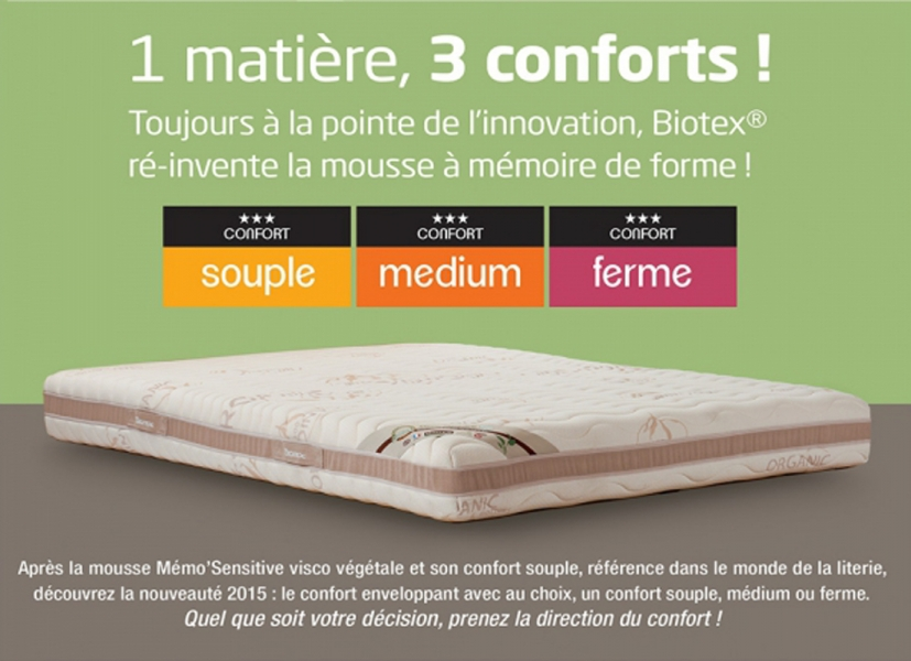 biotex matelas privil ge visco 160x200 v g tale huile de ricin m moire de forme 55 kg m3. Black Bedroom Furniture Sets. Home Design Ideas
