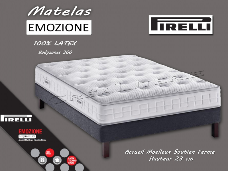 matelas pirelli emozione 23 cm latex bodyzones 360 accueil moelleux soutien f. Black Bedroom Furniture Sets. Home Design Ideas