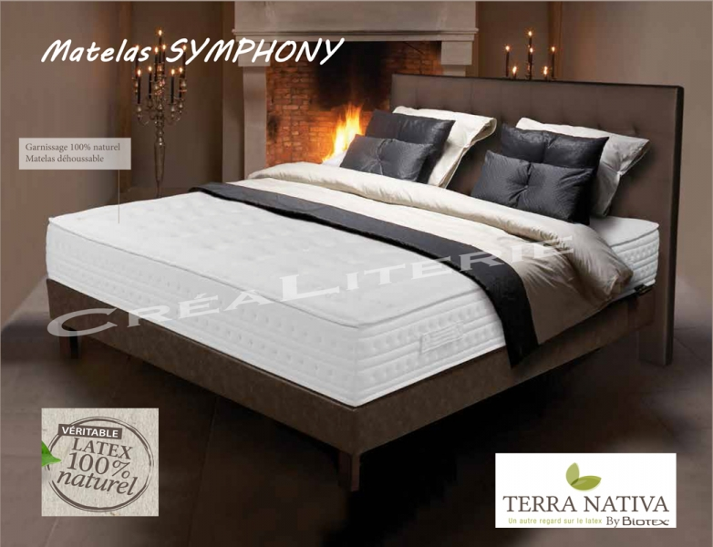 matelas biotex 140x190 symphony 23 cm latex 100 naturel 7 zones de confort fabrication. Black Bedroom Furniture Sets. Home Design Ideas