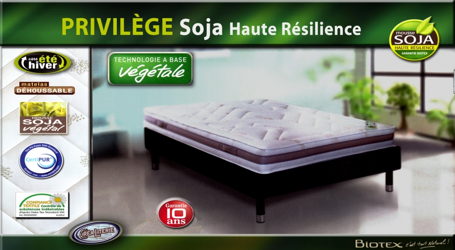 matelas privil ge soja de biotex 140x190 haute r silience soja 55 kg m3 housse soja v g tale. Black Bedroom Furniture Sets. Home Design Ideas