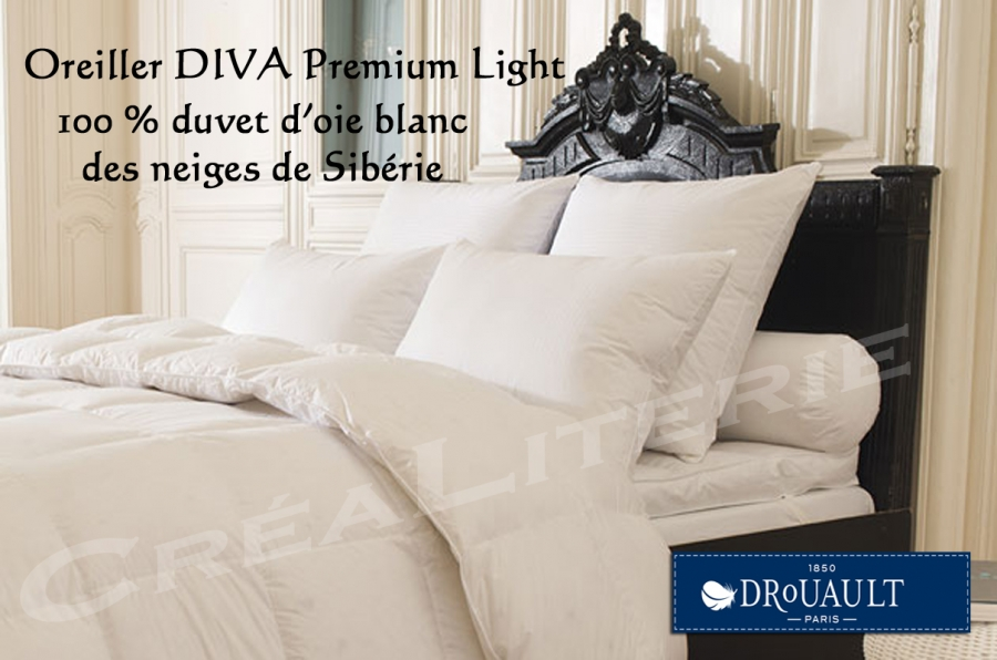 oreiller drouault diva premium light naturel en duvet d 39 oie blanc des neiges de sib rie haut. Black Bedroom Furniture Sets. Home Design Ideas