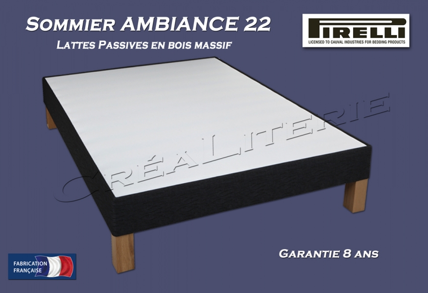 sommier pirelli ambiance 22 lattes passives en bois massif fabrication fran aise rubrique. Black Bedroom Furniture Sets. Home Design Ideas