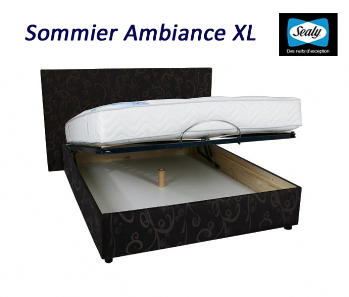 sommier coffre ambiance xl de sealy lattes multiplis avec pieds fournis rubrique promotions. Black Bedroom Furniture Sets. Home Design Ideas