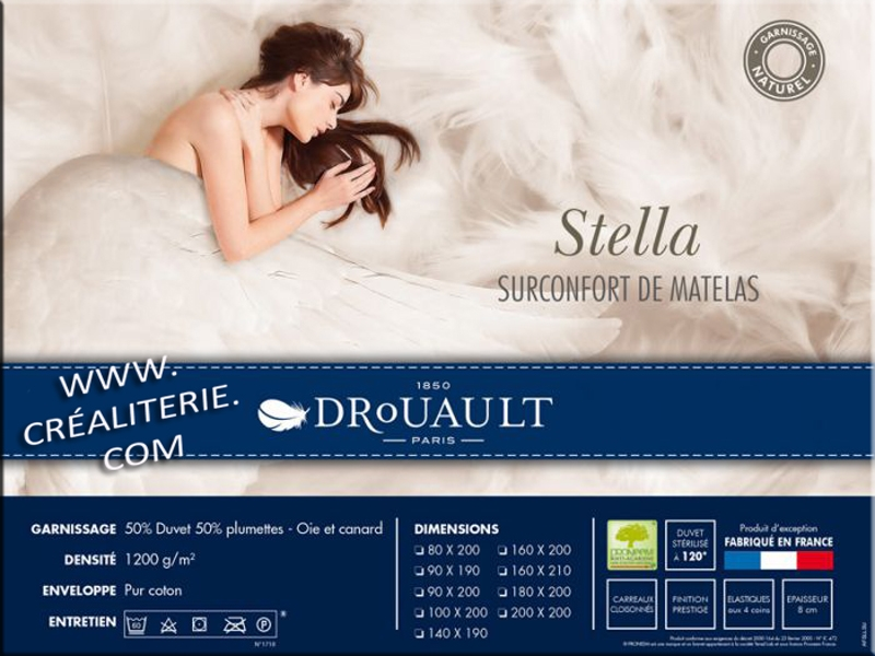 surmatelas stella naturel 140x190 drouault 1200 g m en duvet oie et canard haute qualit. Black Bedroom Furniture Sets. Home Design Ideas