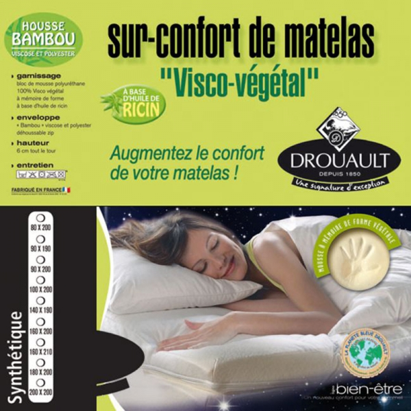 surmatelas v g tal de drouault m moire de forme enrichie. Black Bedroom Furniture Sets. Home Design Ideas