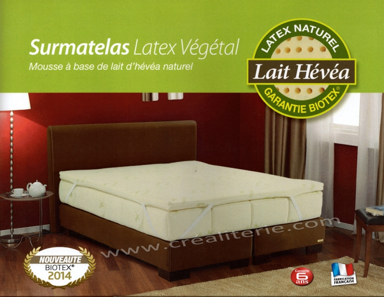 surmatelas latex naturel biotex base de lait d 39 h v a naturel densit 80 kg m3 housse bio coton. Black Bedroom Furniture Sets. Home Design Ideas