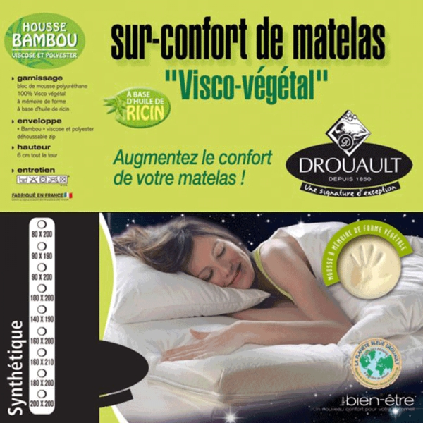 surmatelas m moire de forme drouault v g tal 140x190 enrichie en huile de ricin 55 kg m3. Black Bedroom Furniture Sets. Home Design Ideas