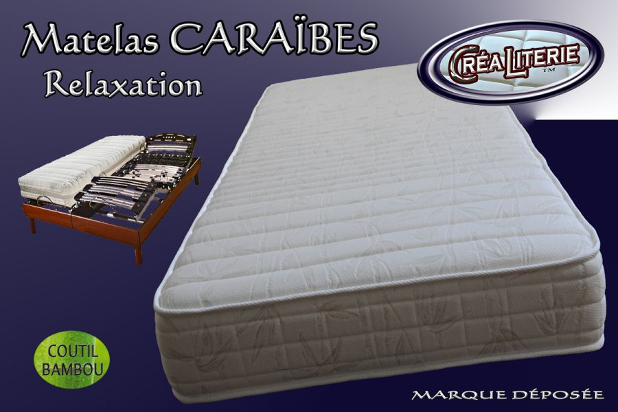 matelas cara bes relaxation haute r silience 35 kg m coutil bambou fabrication fran aise. Black Bedroom Furniture Sets. Home Design Ideas