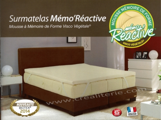surmatelas m moire de forme biotex m mo r active visco v g tale base d huile de ricin housse. Black Bedroom Furniture Sets. Home Design Ideas