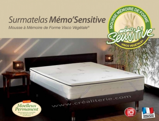 surmatelas m moire de forme biotex memo sensitive 140x190 visco v g tale base d huile de. Black Bedroom Furniture Sets. Home Design Ideas
