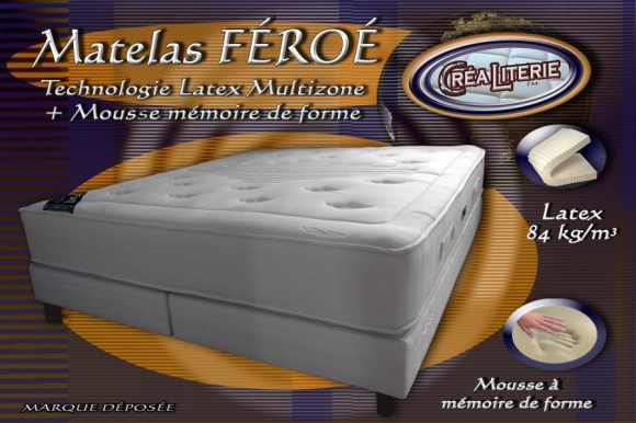 Matelas f ro latex multizones 84 kg m3 mousse - Matelas latex ou mousse memoire de forme ...
