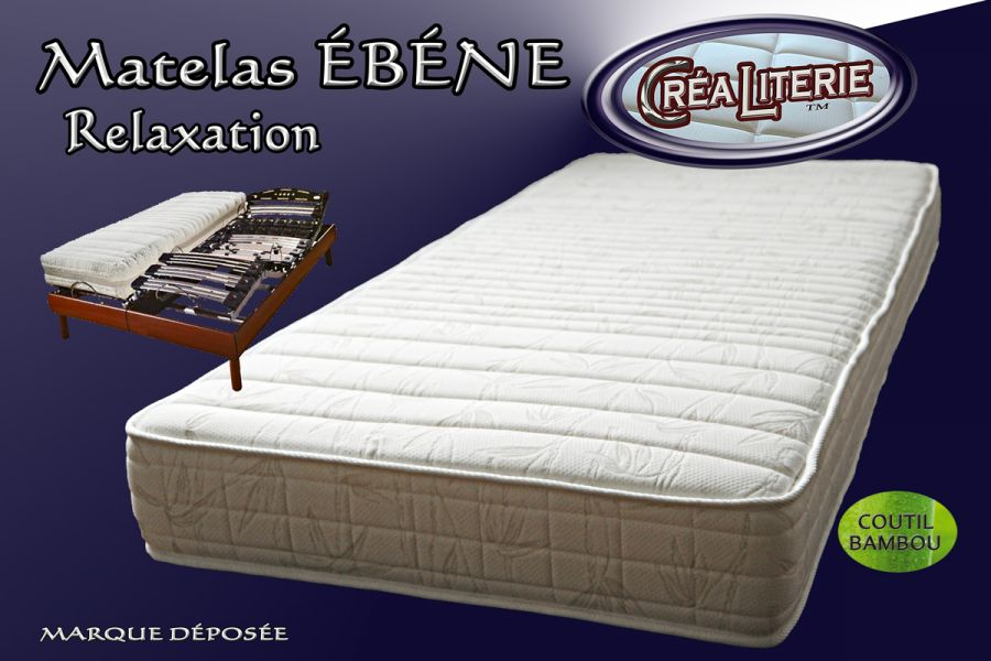 matelas b ne relaxation mousse haute r silience 50 kg m coutil bambou fabrication fran aise. Black Bedroom Furniture Sets. Home Design Ideas