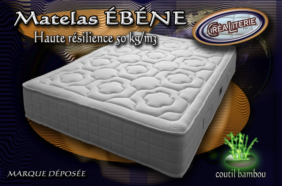 matelas b ne mousse polyur thane haute r silience 50 kg m sans cfc coutil bambou rubrique. Black Bedroom Furniture Sets. Home Design Ideas