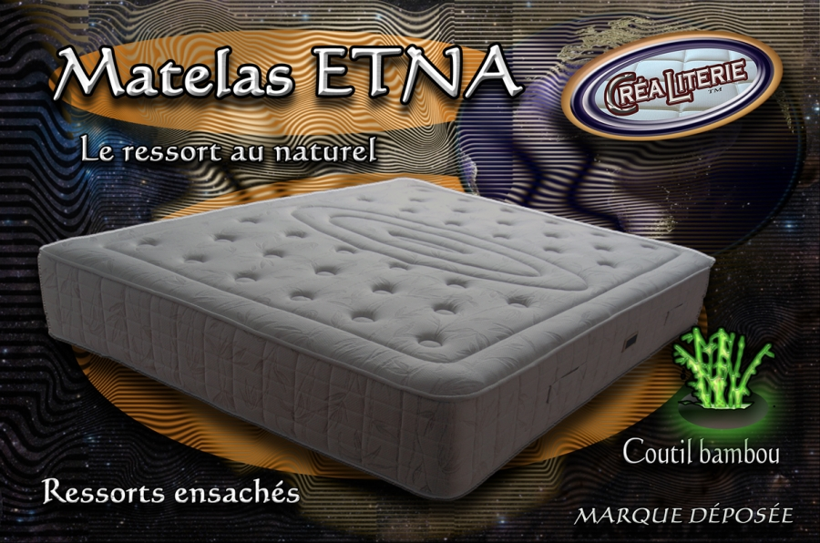 Matelas Ressort Ensaches Etna 160x200 Coutil Bambou Fabrication