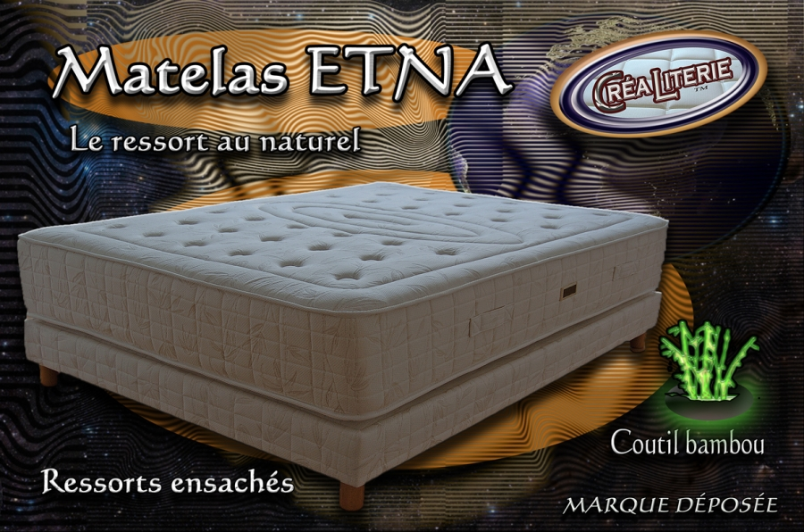 matelas ressorts ensach s etna 140x190 coutil bambou. Black Bedroom Furniture Sets. Home Design Ideas