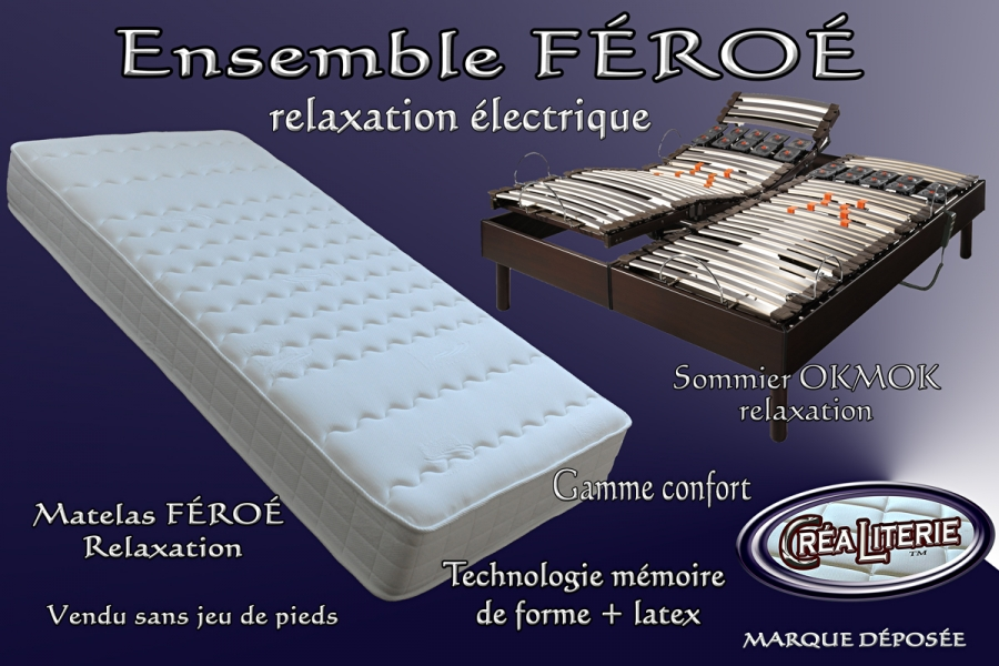 ensemble literie f ro relaxation lectrique matelas sommier rubrique ensembles literie. Black Bedroom Furniture Sets. Home Design Ideas