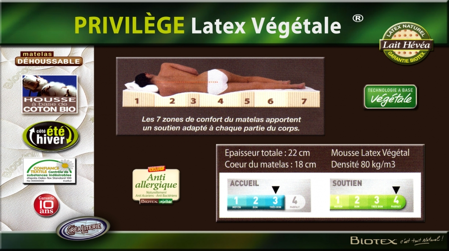 Matelas Biotex Privilege Latex Vegetale Naturel Multizones Densite
