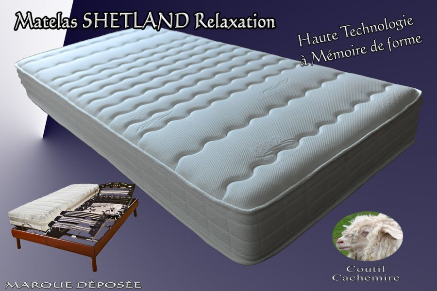 matelas shetland visco relaxation m moire de forme coutil cachemire fabrication fran aise. Black Bedroom Furniture Sets. Home Design Ideas