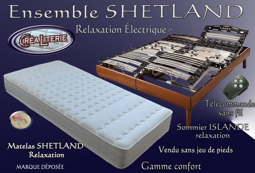 ensemble literie shetland relaxation lectrique matelas. Black Bedroom Furniture Sets. Home Design Ideas