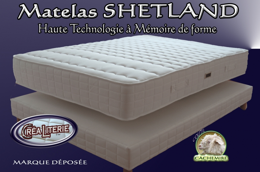 matelas shetland viscorelax m moire de forme sans cfc coutil cachemire rubrique matelas. Black Bedroom Furniture Sets. Home Design Ideas
