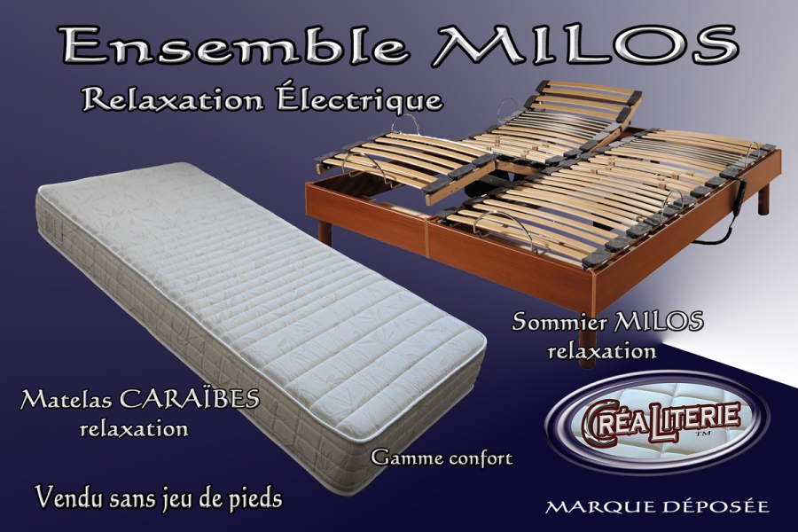 ensemble literie milos relaxation lectrique matelas haute r silience coutil bambou sommier. Black Bedroom Furniture Sets. Home Design Ideas