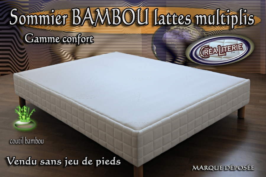 sommier tapissier bambou lattes multiplis hauteur 15 cm coutil bambou fabrication fran aise. Black Bedroom Furniture Sets. Home Design Ideas